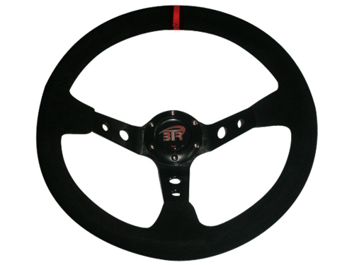 LEATHER STEERING TORNA WRC3 NERO / NERO ROSSO STITCHING